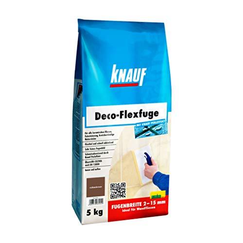 Knauf Deco-Flexfuge – Wand Fliesen-Mörtel auf Zement-Basis: pflegeleicht dank Knauf Perleffekt, schnell-härtend, passend zur Fliesenfarbe, Vulkanbraun, 5-kg