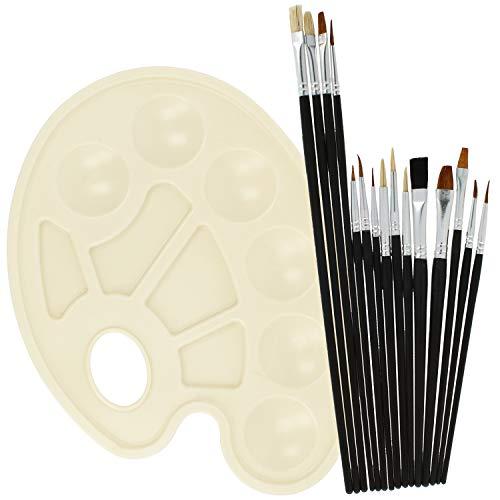COM-FOUR® 15x Pincel de Artista con Paleta Mixta - Conjunto de Accesorios Escolares con Pincel Especial, Pincel Redondo y Paleta para Arte, Acuarela (Juego de cepillos de 16 Piezas)