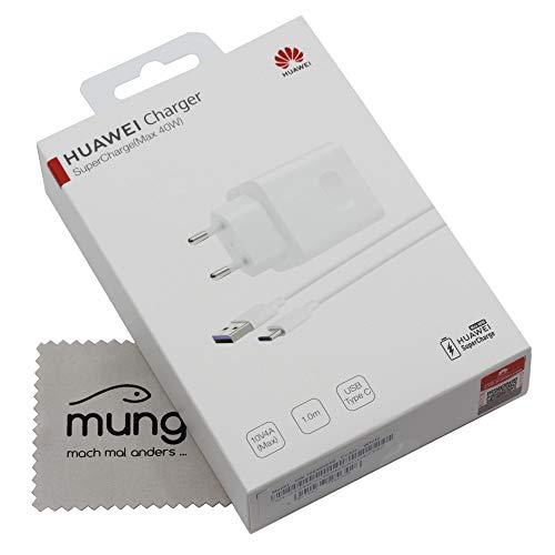 Cargador para Huawei CP84 Original 4A 40W para Huawei P30, P30 Pro, P30 Lite, Mate 20, Mate 20 Pro, Mate 20 Lite, Cable de Carga rápido, Fuente de alimentación con paño de Limpieza mungoo