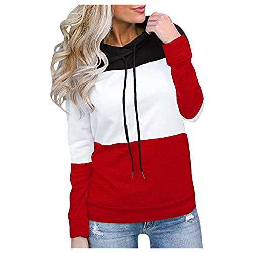 Damen Hoodies Farbblock Studentin Sweatshirt Gestreifte Pullover Casual...
