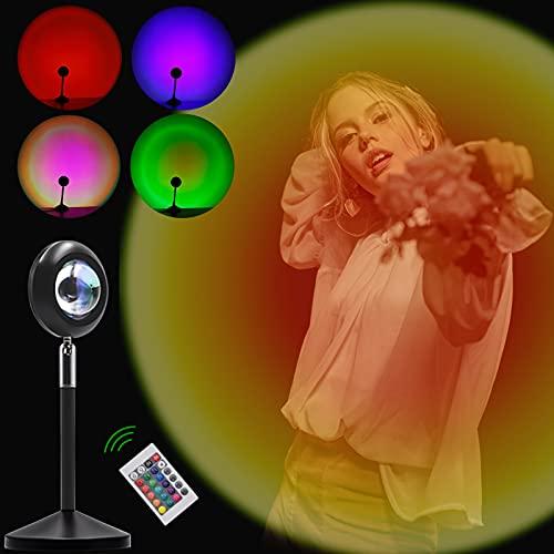 MOLVCE Sunset Lamp 16 Colors Sunset Sunset Proyection Lamp con mando a distancia Sunset Lamp RGB Luces arcoíris, Proyector de luz para selfie, iluminación ambiente para fiestas infantiles