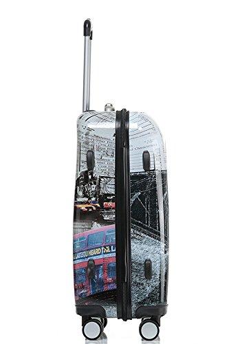 Valise avec coque rigide de voyage bagage trolley à 4 roulettes 360° policarbonate ABS léger et...