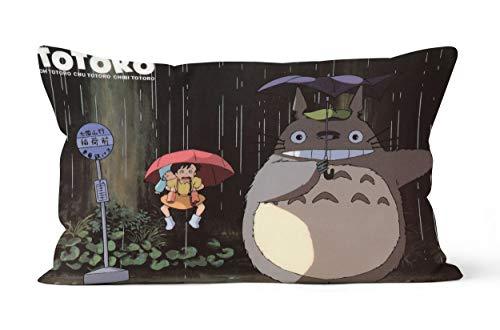 Funda de almohada con texto 'Mi vecino totoro' y 'My Neighbor Totoroi', regalo de 50 x 75 cm, suave y cómodo.