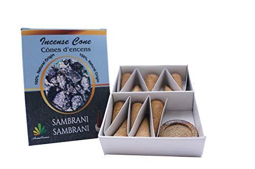 ** Räucherkegel, Sambrani-Harz, 100 % natürlich, zertifiziert von ICEA (Italien), traditionelle Herstellung – 10 Kegel + Halterung
