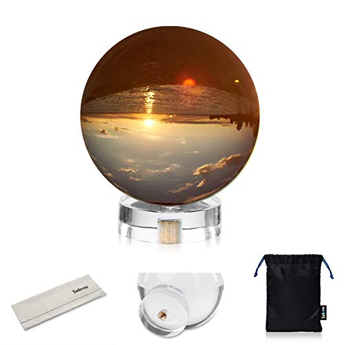 Selens K9 Optical Crystal Photography Ball, 60mm Lens Prism Ball with Suction Mount Base Stand, Glass Props Ball Globe Sphere for Teaching Light Spectrum Physics Decorative Photography Accessories