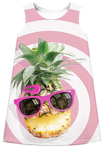 Ocean Plus Niña Vestido Floral Redondo Vestido Recto Vintage Sin Mangas de Arco Iris Tops de Impresión Digital (L (Altura: 145-150 cm), Gafas de Sol de piña)