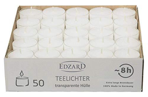 EDZARD 50 Stück Wenzel Nightlights Teelichtkerzen, weiß, transparente Kunststoffhülle, Brenndauer ca. 8 Stunden, Durchmesser 38 mm, Höhe 25 mm