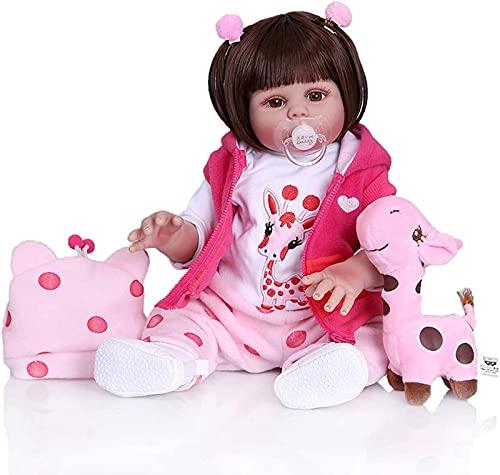 Muñeca Realista de 48 cm de Vinilo de Silicona Completa para bebés recién Nacidos, Ropa de Princesa para niñas, muñeca de Goma de Renacimiento de Dinosaurio de 48 cm, como se Muestra