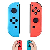 Joy Con Switch Controller Wireless Replacement for NS, Neon Red/Neon Blue Joy-Con Support Wake-up Function, with Dual Vibration and Gyroscope Axis