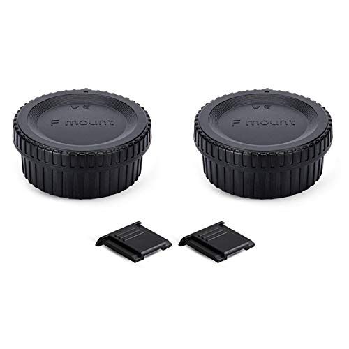 2 Pack F Mount Body Cap Cover & Rear Lens Cap for Nikon D3500 D3400 D3300 D3200 D5000 D5100 D5200 D5300 D5500 D5600 D7000 D7100 D7200 D7500 D850 D800 D810 D780 D750 D610 D500 D600 D5 D4 D3 and More