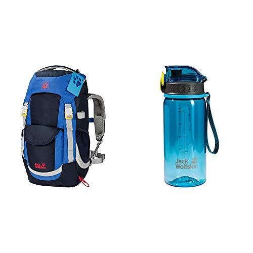 Kinderrucksack für Tagestouren, Wanderrucksack für Kinder ab 6 Jahren mit bequemer Passform, 20 L Rucksack für Kinder mit Sitzmatte & Unisex– Erwachsene Tritan Trinkflasche, turquoise, One Size