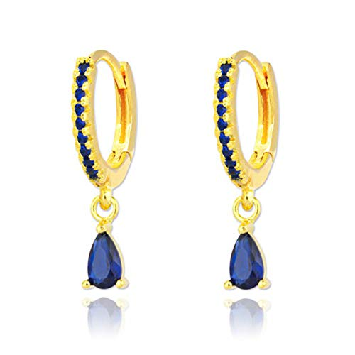 Iyé Biyé Jewels - Pendientes de Aro Mujer Plata de Ley 925 Baño Oro Amarillo con Circonitas Azules y Colgante Piedra Azul 6 Mm Cierre Clip