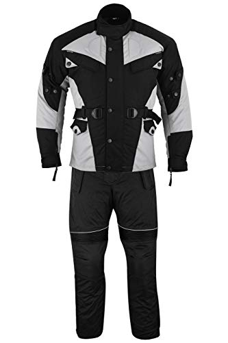 German Wear 2-teiler Motorradkombi Cordura Textilien Motorradjacke + Motorradhose, 50/M, Grau/Schwarz
