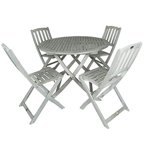 Charles Bentley FSC Acacia White Washed Wooden Outdoor Garden Patio Dining Set - Table with 4 Chairs Chair max user weight: 160kg