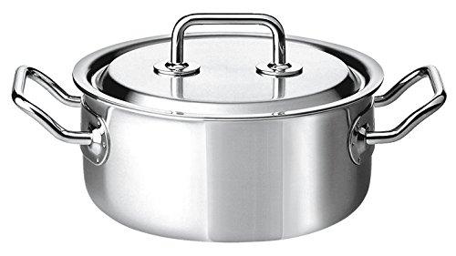 Spring 0415500622 Brigade Premium braadpan nieder met deksel, roestvrij staal, zilver, 12,6 x 29,4 x 33,8 cm