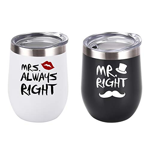 Mr. Right Mrs. Always Right Wine Tumbler Set, Wedding Engagement Gifts for Husband Wife Newlywed Couples Bride Groom Anniversary Bridal Shower, 12 Oz Stainless Steel Wine Tumbler, Black and White