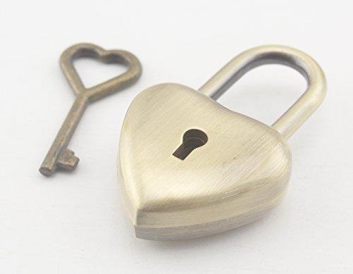 Pendentif petit cadenas en forme de cœur avec clé 2,5 cm x 4 cm 4 couleurs au choix Nickel/anti-bronze/doré clair/bronze (anti-bronze)