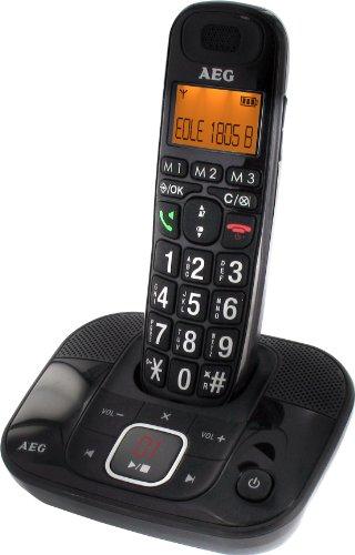 AEG Eole 1805B Schnurloses Eco Logic Großtastentelefon inkl. Anrufbeantworter schwarz