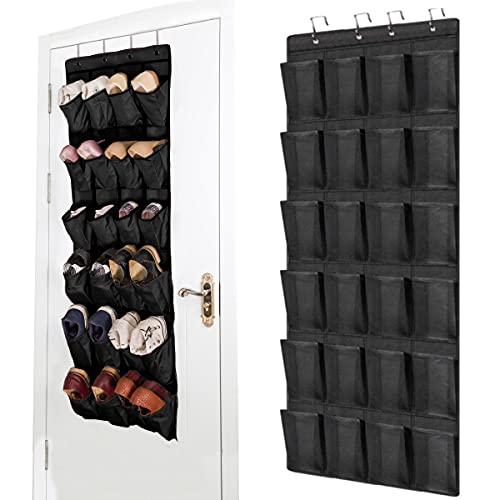 24 bolsillos zapatero suspendido, zapatero colgante con sistema de almacenamiento para colgar, organizador de armario, color negro, zapatero de pared, puerta multifuncional