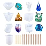 6 Pack Resin Molds, Large DIY Silicone Molds for Resin, Soap, Wax etc, Epoxy Resin Mold Including Cube/Pyramid/Diamond/Stone/Mixing Cups/Wood Sticks