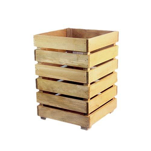 Basura y reciclaje Papeleras Cuadrados creativos Cubos de basura de madera maciza Basura para la basura Bote de basura Basura de basura Papelera de reciclaje Reciclaje de basura Cubo de basura Cubo de