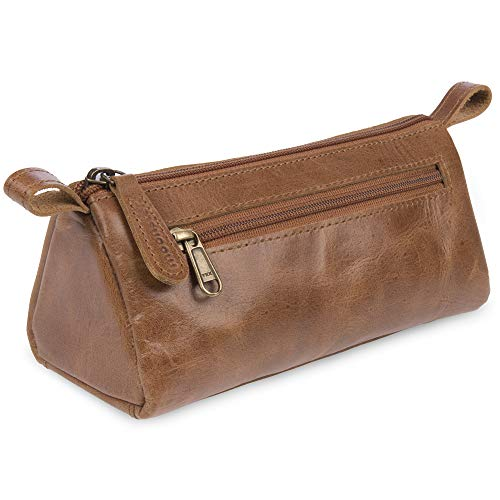 moonster Leather Makeup Bag for Travel - Slim, Stylish Design Fits in All Purses & Bags - for All Your Make Up and Cosmetic Essentials at Home Or On The Go