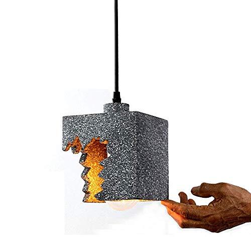 HJW Cemento Colgante Luz Vintage Industrial Colgante de Techo Lámpara de Iluminación de Cena Gris Lámpara Colgante con Pantalla de Barra Ajustable Aisle Cafe Edison Luces de Techo