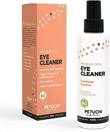 PETUCHI Premium Spray Oogdruppels voor Honden; Oogreiniger voor geïrriteerde ogen; 100% biologisch; 150ml
