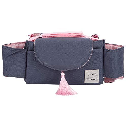 SCCX Bolsa de almacenamiento universal para cochecito de bebé, bolsa de almacenamiento para cochecitos, accesorio de borla rosa