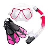 Ertong Children Snorkel Set Kids Scuba Diving Equipment Packages Including Adjustable Swimming Fins/Flippers + Automatic Breathing Tube + Tempered Glass Lens Snorkeling Mask (Rose Red)