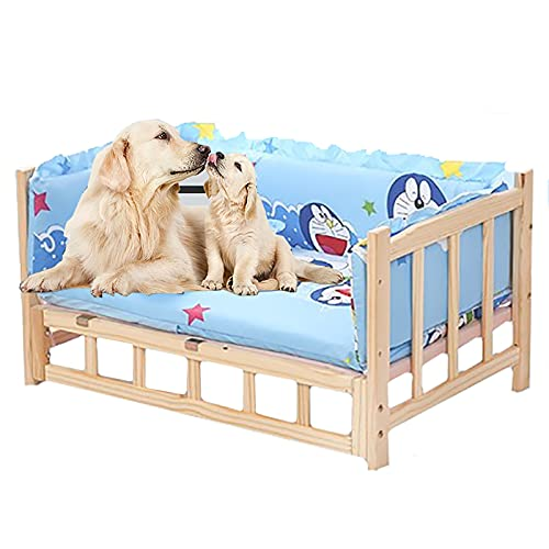 Cama para Perros Camas para perros de madera para perros pequeños y medianos, con almohadas y cojines Doraemon azules, sofá elevado para mascotas, perrera elevada para perros ( Size : L-90×55×42cm )