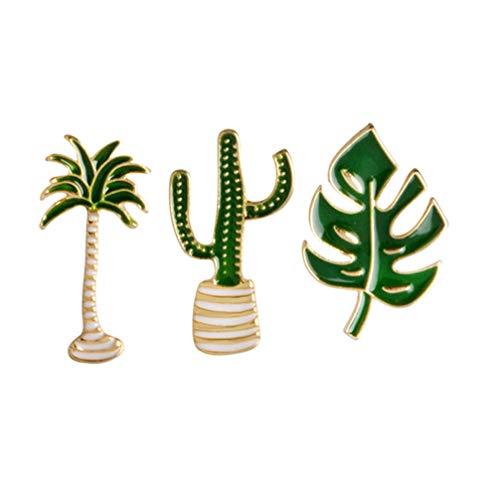 PRETYZOOM 3 Stück Süße Brosche Stifte Kaktus Kokosnussbaum Form Brosche Schmuck für Hawaii Party Begünstigt Geschenk Hut Schal Kleidung Accessoires