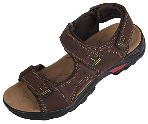 4How Mens Casual Sandal Leather Outdoor Chocolate Color US Size 10.5