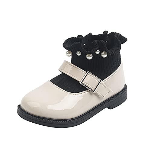 Zapatos para bebé, niñas, botines de otoño e invierno, calcetines de punto, botines con perlas, zapatos de princesa, zapatos infantiles, botines de piel, beige, 27 EU