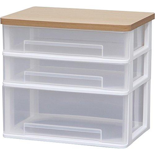 アイリスオーヤマ チェスト テーブルチェスト ワイド 木天板 幅36.6×奥行26.3×高さ32.9cm ホワイト WET-W421