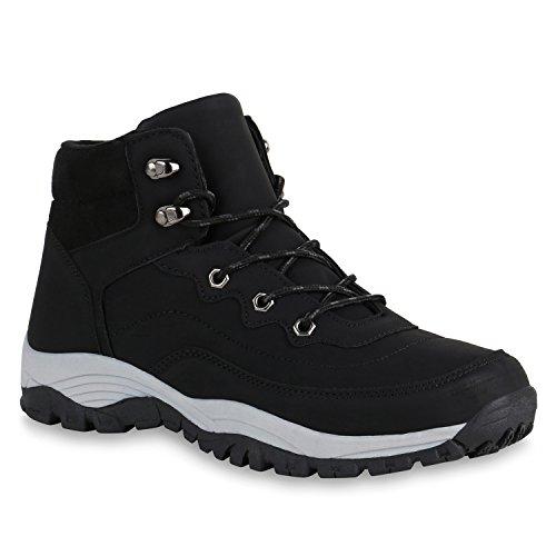 stiefelparadies Warm Gefütterte Herren Worker Boots Outdoor Profilsohle Schuhe 147931 Schwarz 45 Flandell