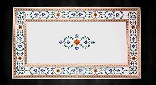Mesa de comedor blanca de 36 x 72 pulgadas con piedras semipreciosas con incrustaciones de jardín con patrón de borde