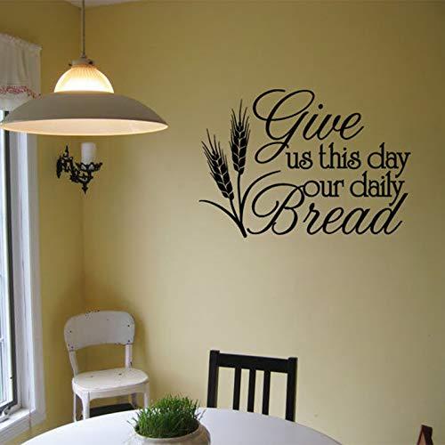 Esszimmer Wandtattoo Gib Uns Heute Unser Tägliches Brot Küche Wandtattoos Zitat Bibel Vers Dekor Restaurant Aufkleber 42 * 30Cm