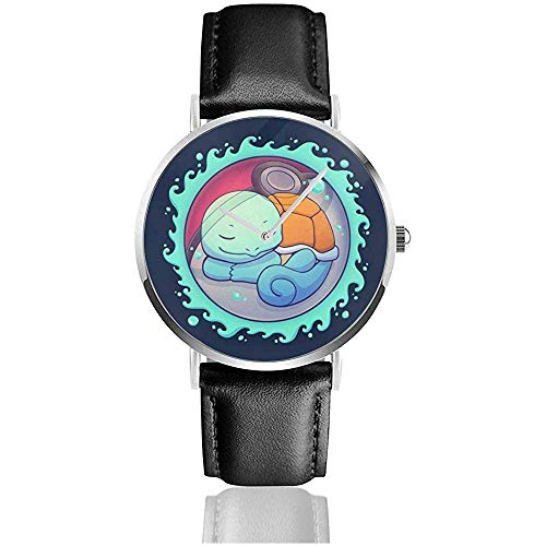 Unisex Business Casual Squirtle versteckte Wasserball Monster Uhren Quarz Leder Uhr