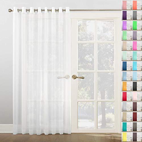 Megachest Woven Voile super wide metallic ring top Curtain 1 Panel (Pure White, 118' wide X 90' drop(W300cmX228.5cm))