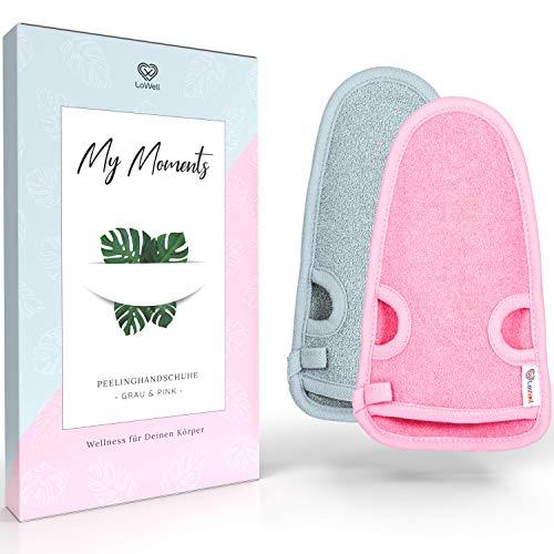 2 Stück - LoWell® - Peelinghandschuh rau inkl. Peeling-Guide + 2 x BONUS Saugnapf - Entspannung für deinen Körper - Wellness Handschuh - Dusch Schwamm Body - Hamam Handschuhe Gesicht (Grau + Pink)
