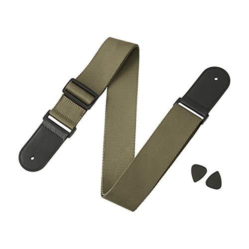 AmazonBasics - Correa ajustable para guitarra eléctrica/acústica/bajo, incluye 2 púas, correa suave con extremos de piel sintética, verde