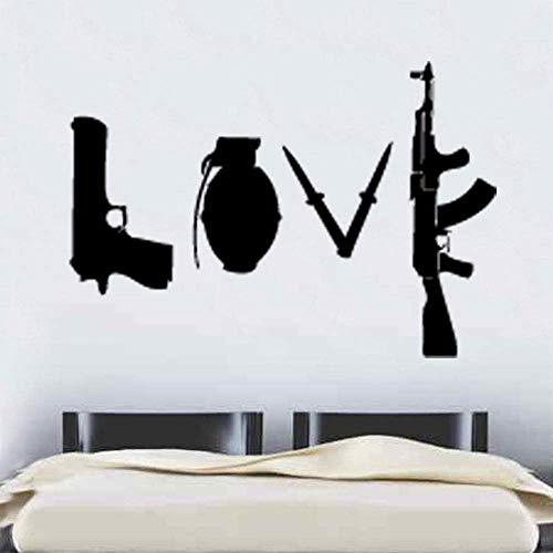 Banksy Love Weapons Wall Sticker Art Graffitti Street Vinilo Tatuajes De Pared Decoración Para El Hogar 60X68Cm