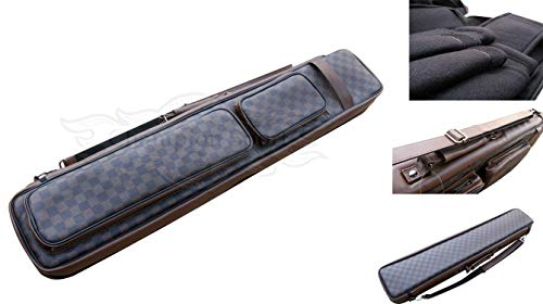 Gator Champion Instroke Cases with Soft Cue Leather Bag - 4x8 Pool Cue Case Hold 4 Butts 8 Shafts, F-0452 Brown