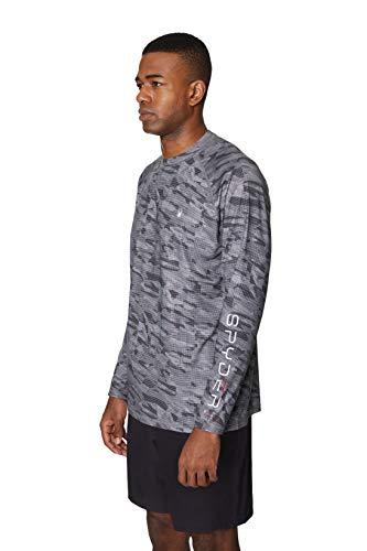 Spyder Men's Digital Camo Long Sleeve Rashguard, Dark Grey, Medium