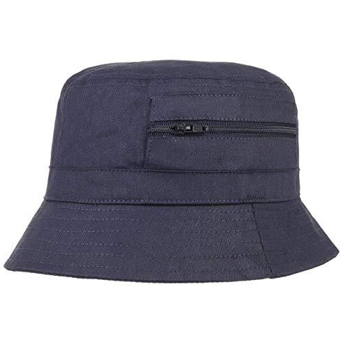 Lipodo Fischerhut Damen/Herren - Aus Baumwolle - Anglerhut mit eingenähter Tasche (Reißverschluss) - Sommerhut als Sonnenschutz - Farben blau, Oliv, weiß blau 61 cm