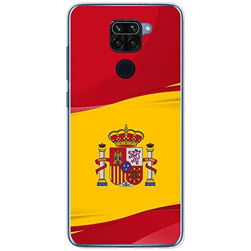 BJJ SHOP Funda Transparente para [ Xiaomi Redmi Note 9 ], Carcasa de Silicona Flexible TPU, diseño : Bandera de España