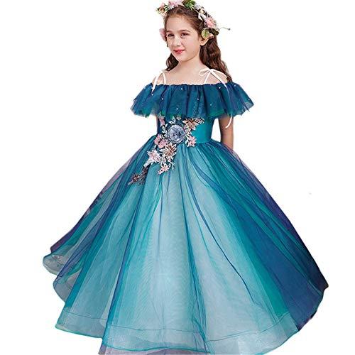 Nvshiyk Mädchen Kleider Kostüme Prinzessin Kleid Mädchen Flaumy Garn Blume Mädchen Klavier Performance Kostüm Host Abendkleid Catwalk Kinder Kleid Abendball für Kinder (Farbe : Blue, Size : 120cm)