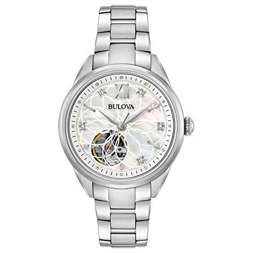 Bulova Damen Analog Automatik Uhr mit Edelstahl Armband 96P181