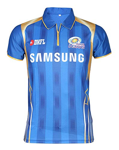 IPL Cricket MI 2019 Jersey Supporter T Shirt Rohit 45 Custom Print Name No Mumbai Indians Uniform(Custom, 36)